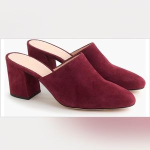 J.crew burgundy suede leather block heel mules